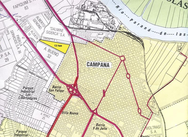Foto Terreno en Venta en  Campana,  Campana  Ruta 6 Frente Dálmine 13 has