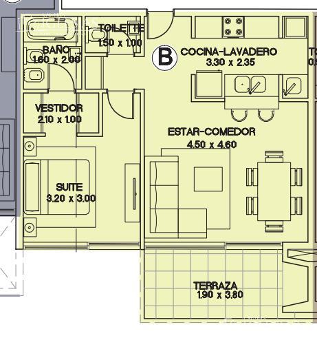 Departamento en Alquiler en Espigon Trece a Alquiler - $ 11.000
